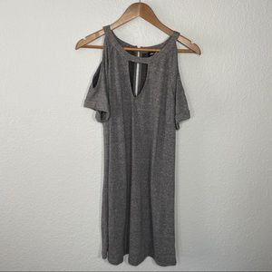 Buckle   Cold Shoulder Gray Sweater Dress